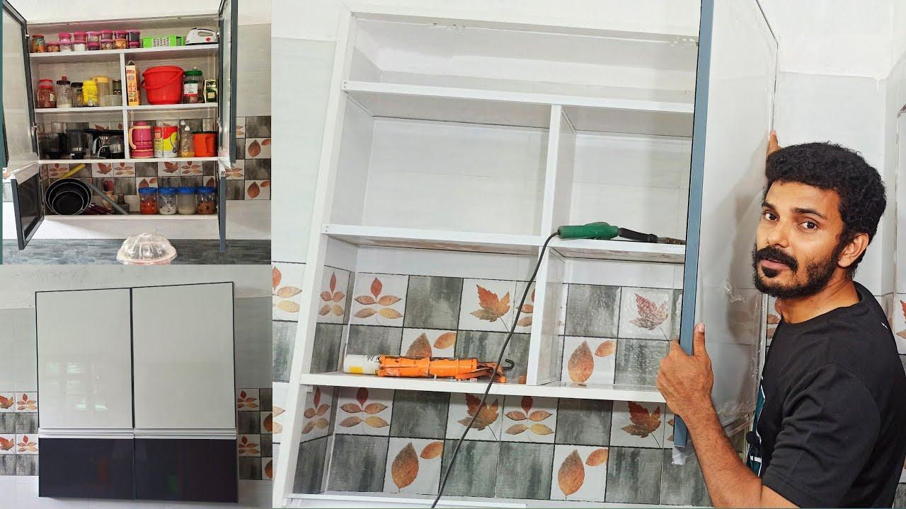 ALU PVC Kitchen Showcase | low Budget Kitchen Cupboard Making | Pvc പാനൽ കൊണ്ട് Kitchen തട്ട്