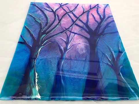 34 - Epoxy Resin & Acrylic art - Spot the Ghost - Misty Forest - Final Layer