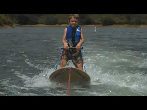 6 Year Old 1st Time Water Skiing Hydroslide Water Ski