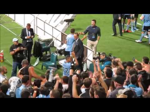 Ali Abbas Of Sydney FC Celebrates With Cove Following 2-1 Derby Win Vs WSW Round 15 A-League 2015/16