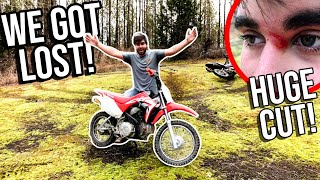 Bleeding & LOST IN THE WOODS! Pit-Bike FAILURE