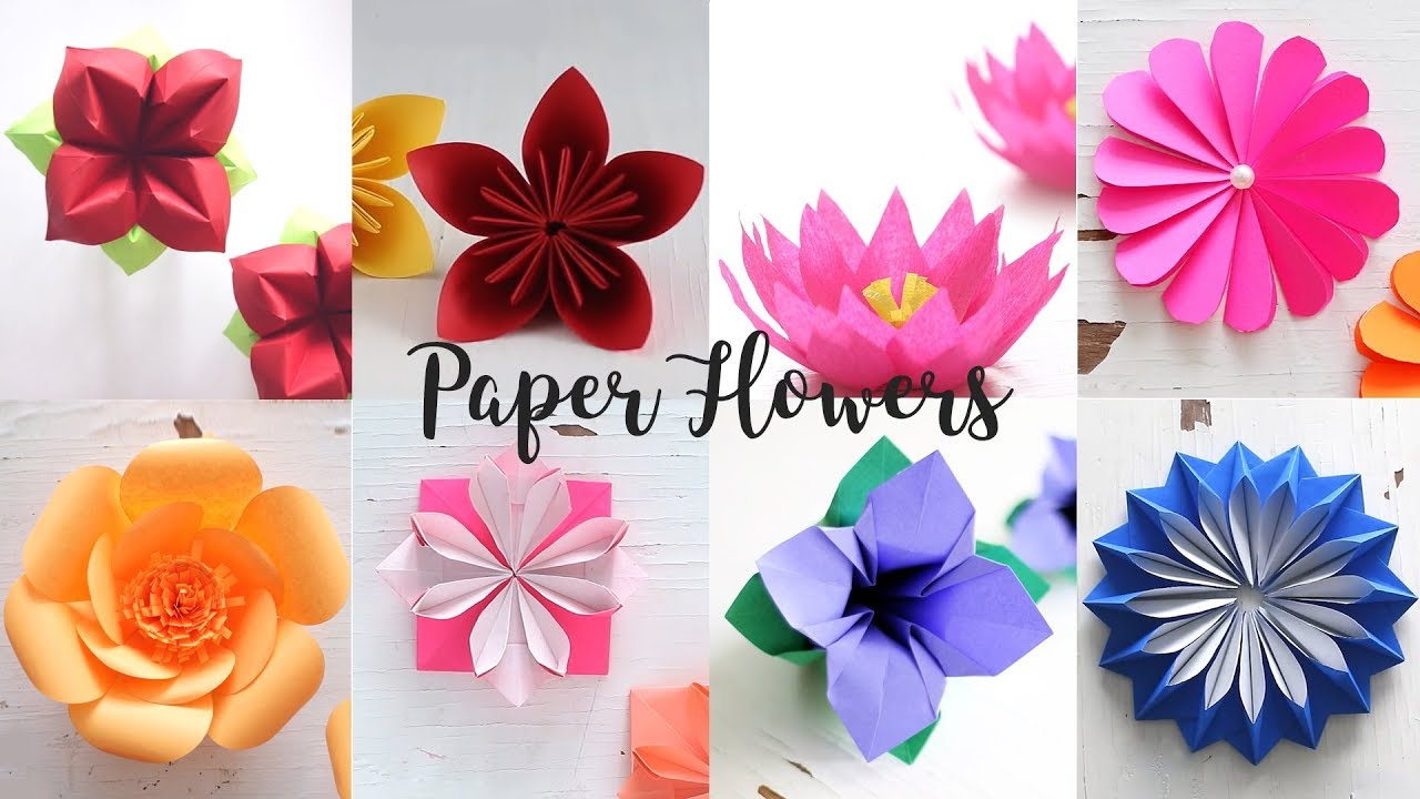 8 Easy Paper Flowers Youtube