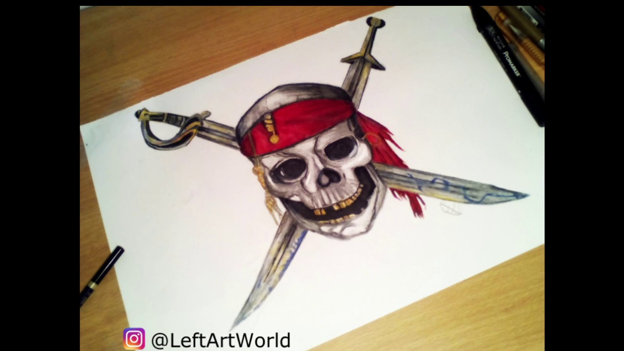 Speed Drawing Pirates Of The Caribbean Logo Youtube