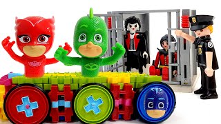 PJ Masks! ride a new car made by Romeo and defeat the villains ❤️ RACHAMAN TOY