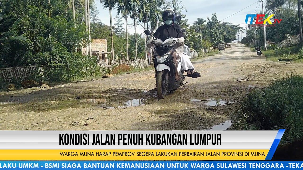 Kondisi Jalan Kampung Mantan Gubernur Sultra Penuh Kubangan Lumpur