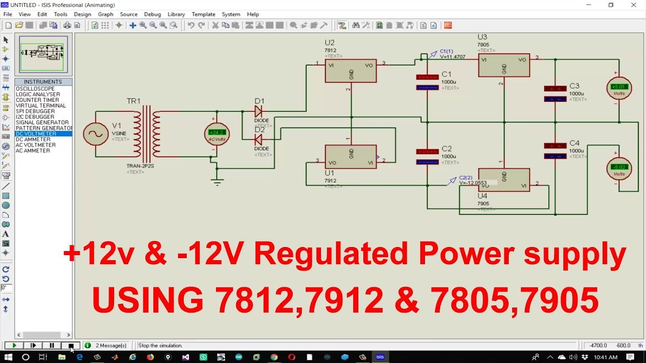 regulated power supply using ic 7912, 7812, 7905, 7805