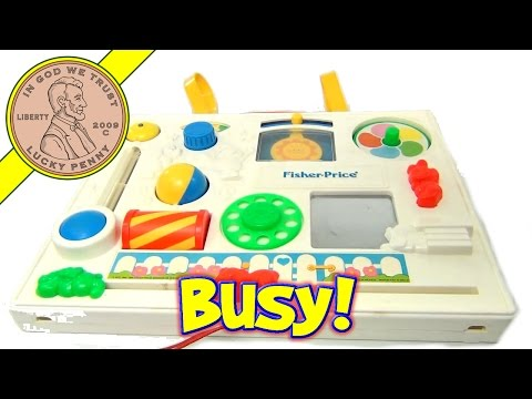 Fisher-Price Busy Box Activity Baby Crib Play Center Vintage Toy, 1988 #1135