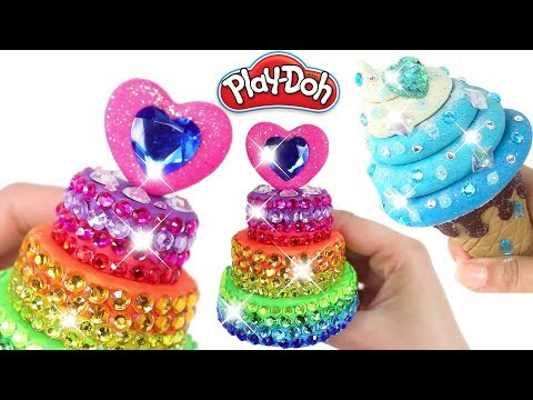 Play Doh Food Creations Jewels Cake Frozen Jewelry Ice Cream and Sparkle Pizza Crafts for Kids