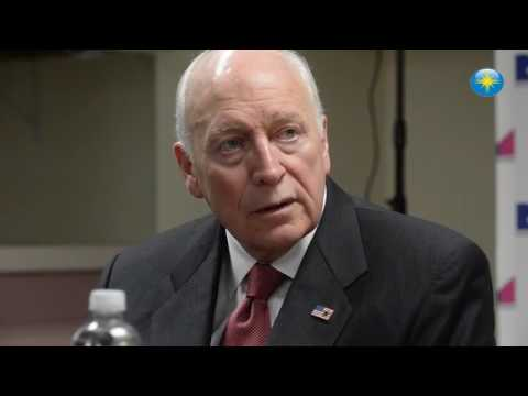 Former Vice President Dick Cheney addresses the media at the Van Wezel Performing Arts Hall
