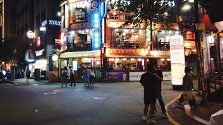 [4K] Late night walk through Hongdae Sangsu area : Seoul city nightlife