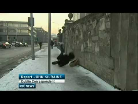 Walking Fail - Man Falls on Ice in Dublin On RTE news