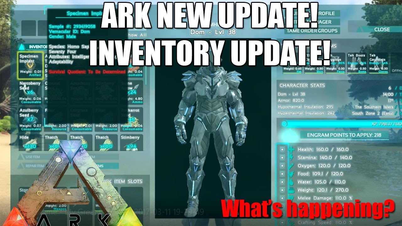 Nice ARK: NEW MECHANIC UPDATE!   INVENTORY UI OVERHAUL! NEW SOUNDS!   (Ark:Survival  Evolved)