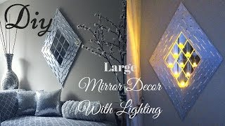 Diy Large Wall Mirror Lighting Decor Using Dollar Tree Items! | Inexpensive Wall Decorating Idea!
