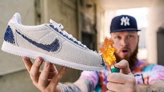 HOW TO MAKE NIKE CORTEZ STRANGER THINGS UPSIDE DOWN EVEN BETTER! (I Burned My Sneakers)