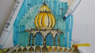 how to draw colourful temple