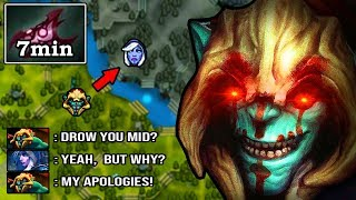 CANCER MID HUSKAR IS BACK! Absolute Unkillable 7min Armlet 12min Godlike Destroyed 8K Drow DotA 2