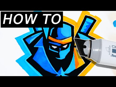 EASY TUTORIAL: HOW TO DRAW NINJA'S YOUTUBE/TWITCH LOGO TRICK  FORTNITE