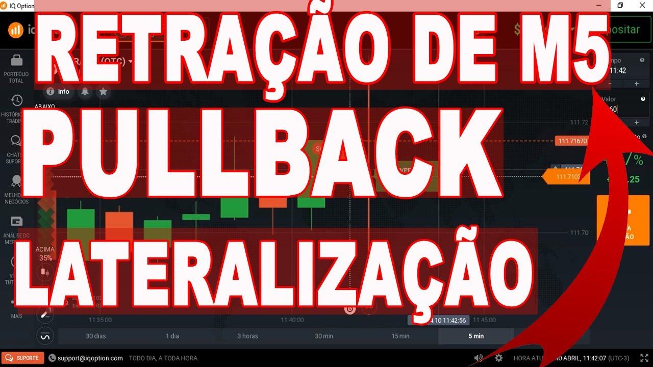 IQ OPTION : RETRAÇÃO DE VELA DE M5 EM LATERALIZAÇÃO E PULLBACK