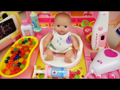 Thumbnail: Doctor Baby doll and Hello Kitty hospital toys play