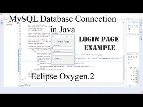 MySQL Database connection in Java using Eclipse || Login page Example || English