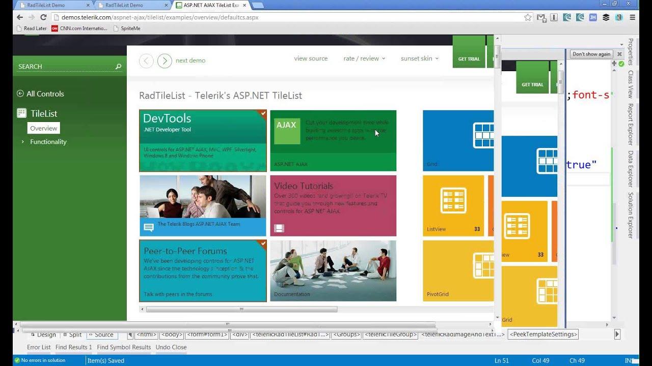 Developing Modern UI in your Web Applications using Telerik RadTileList
