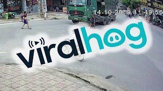 Bicycle Rides into Trucks Blindspot || ViralHog