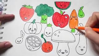 Dạy bé tô màu rau củ quả ~ bé tập tô hoa quả