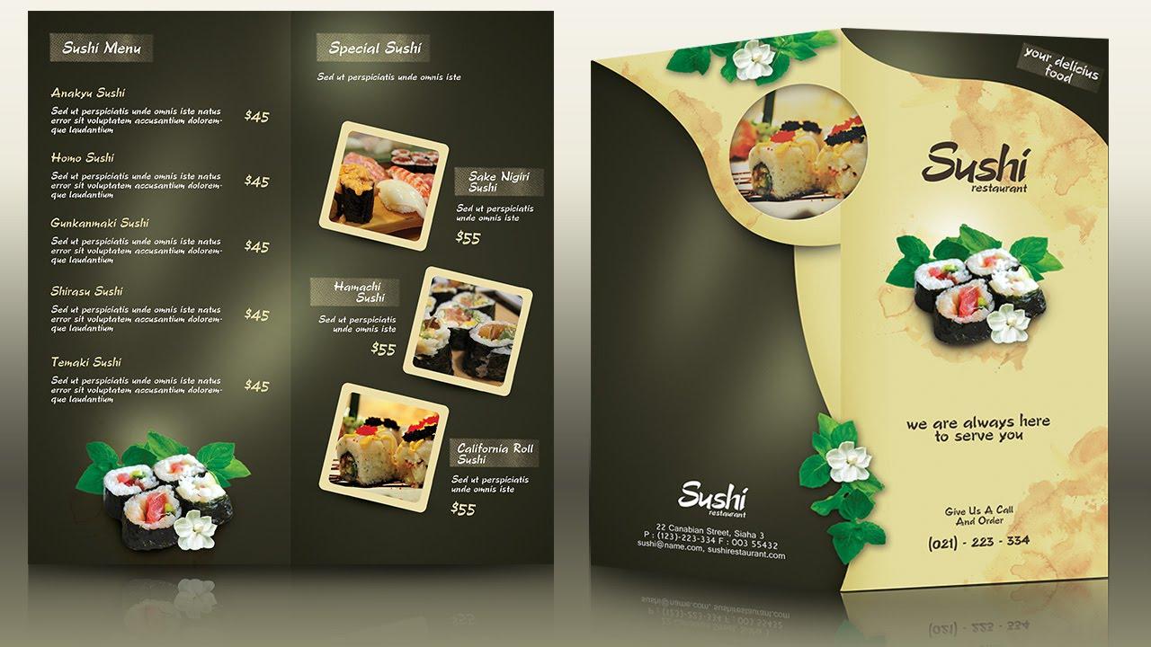 create a half fold menu brochure mockup photoshop tutorial youtube