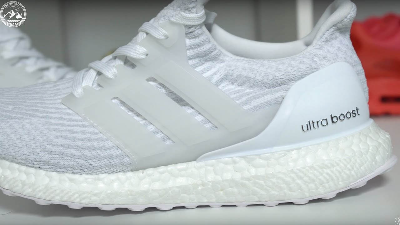 55368ed012958 Adidas Ultra Boost 3.0 Triple White Detailed Look - YouTube