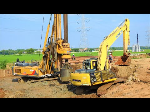 Deep Foundation Railway Construction With Excavator Drilling Rig Crane Ready Mix And Dump Trucks