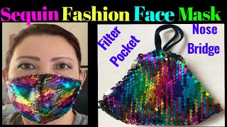 170 How To Hand Sew Sequin Fabric Face Mask With Filter Pocket Nose Bridge Fancy Face Mask
