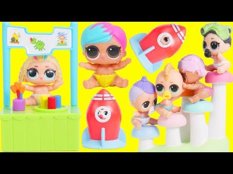 LOL Surprise Dolls Baby School Wheel + Bathroom Store | Toy Egg Videos thumbnail