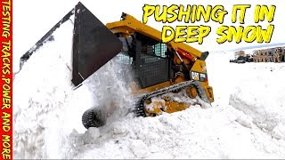 Testing a Cat 299D2 skid loader in Deep snow
