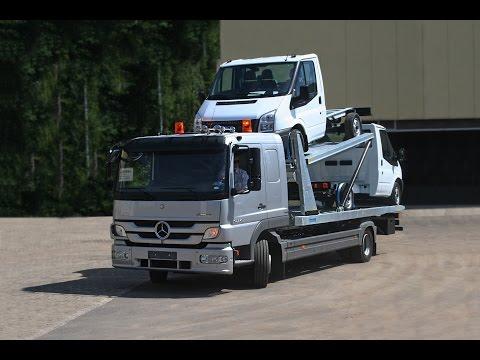 Mercedes Atego 1224 двухуровневый автовоз с платформой Monza