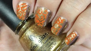 Fall Filigree Nail Art