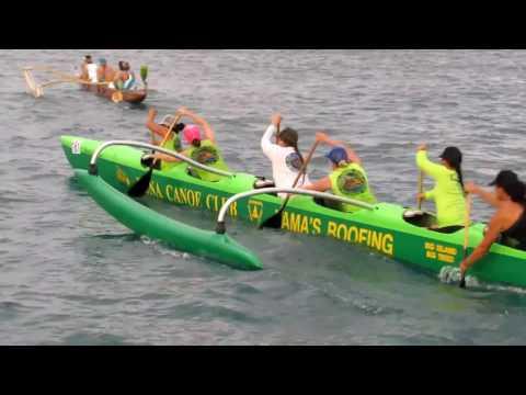 2015 Queen Liliuokalani Canoe Race Kailua Kona Ceremony crews launching and departing