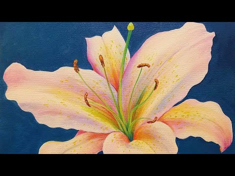 LILY Acrylic Painting Tutorial LIVE Step by Step Flower Fine