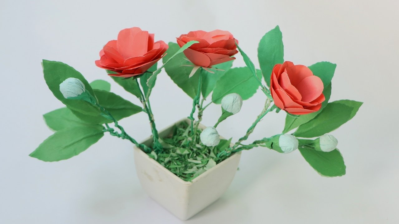 How To Make Origami Paper Flowers Rose Paper Flowers Making