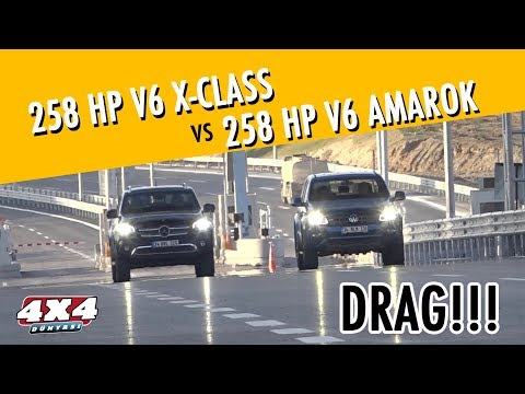 VW Amarok Versus Mercedes X-Class Midsize Pickup Drag Race