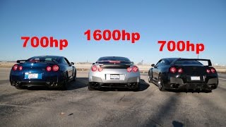 Listen to a 1600hp, 700hp, and 700hp Nissan GTR Scream!