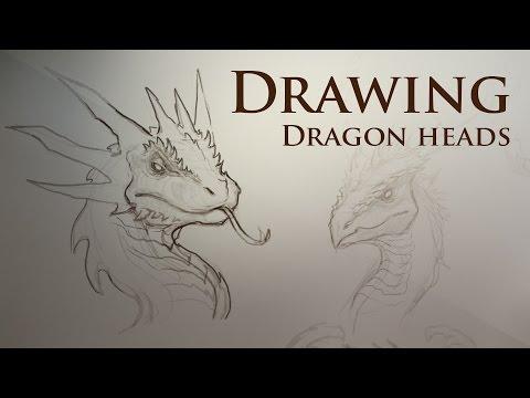 Drawing dragon heads