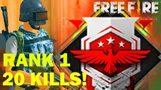 20 KILLS HEROIC RANK! BEST PLAYER! - Free Fire Battlegrounds