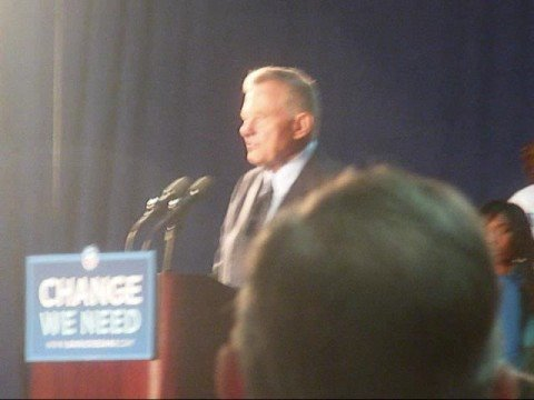 Birch Bayh Introduces Michelle Obama at Rally