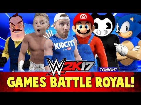 WWE 2k17 Kids Games Battle Royal! With Bendy, Hello Neighbor, Mario & Sonic! |