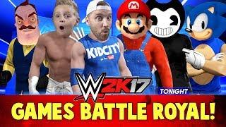WWE 2k17 Kids Games Battle Royal! With Bendy, Hello Neighbor, Mario & Sonic!