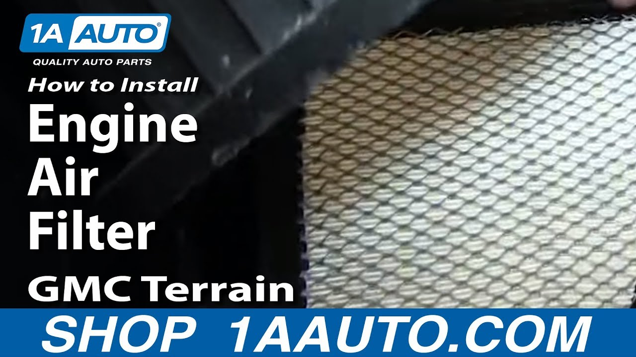 how to install replace engine air filter gmc terrain