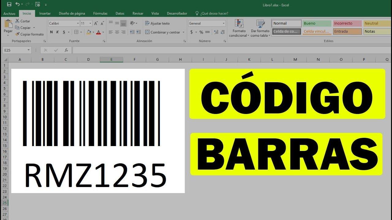 Como Hacer Un Código De Barras En Excel Youtube