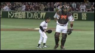 2010/04/24 東京ドーム 木村コーチ追悼試合で長男が始球式.