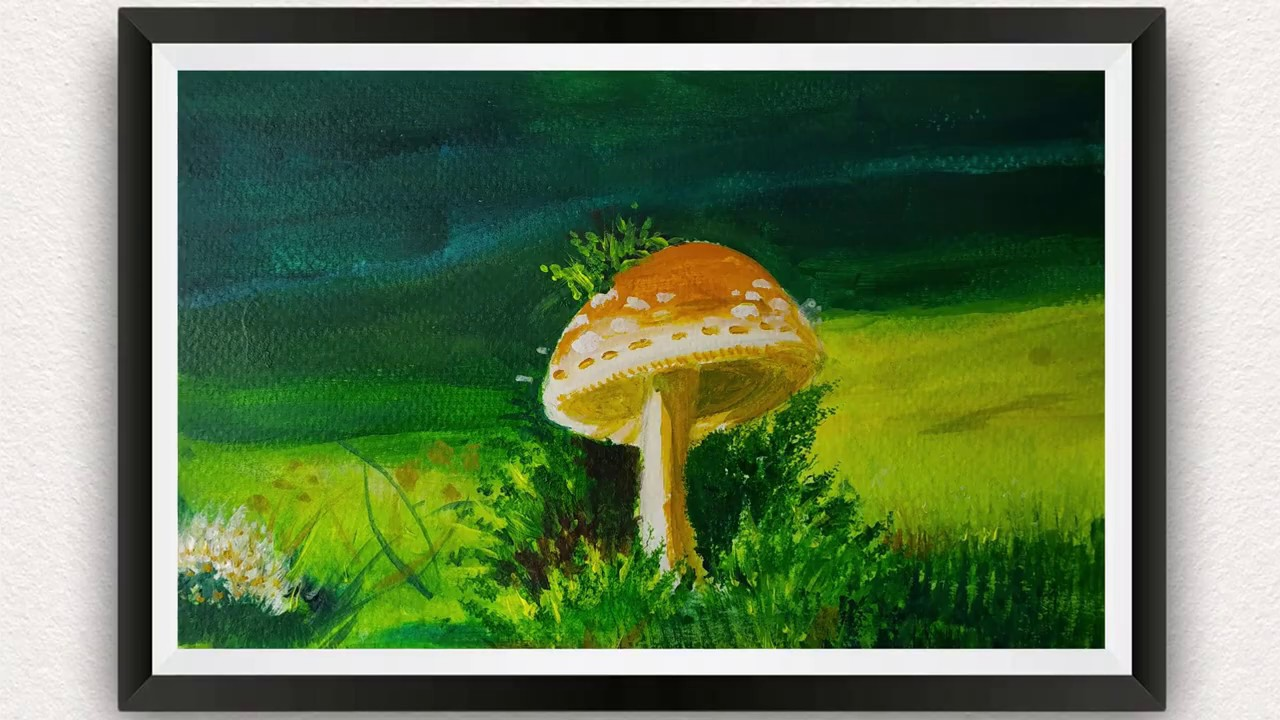 ACRYLIC PAINTING TUTORIAL / HOW TO PAINT A MUSHROOM FOREST FOR BEGINNERS / STEP BY STEP / VERY EASY