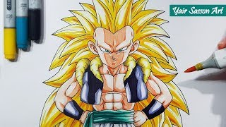 How To Draw GOTENKS Super Saiyan 3! - Step By Step Tutorial!